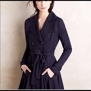 Anthropologie DRA Los Angeles Navy Swing Trench